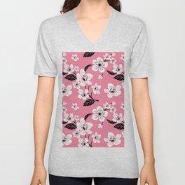 Light Pastel Pink & White Sakura Cherry Tree Flower Blooms - Aloha - Hawaiian Floral Pattern Unisex V-Neck