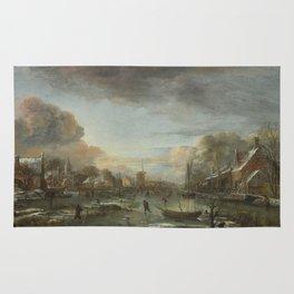 Aert Van Der Neer - A Frozen River By A Town At Evening Rug