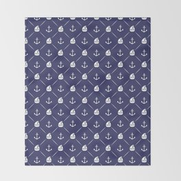 Retro Nautical Print Throw Blanket