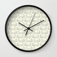 bicycles Wall Clocks featuring Bicycles by superdumb