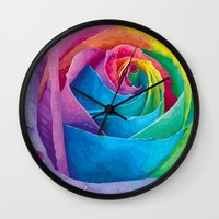 rose Wall Clocks featuring Rose  by Aloke Design
