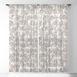 Giant money background 50 pound notes / 3D render of thousands of 50 pound notes Sheer Curtain