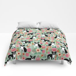Boston Terrier florals dog breed pattern must have pupper gifts dog lovers Comforters