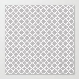 Lattice Gray on White Canvas Print