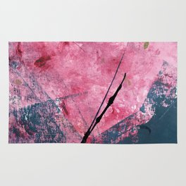 Orchid: a bright abstract mixed media piece in blue, pink, and, black Rug