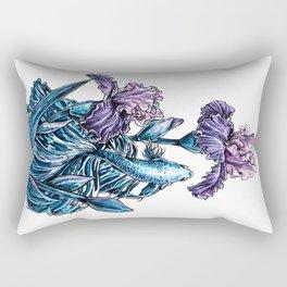 Calming picture, blue decorative cockerel fish, purple iris flowers illustration Rectangular Pillow