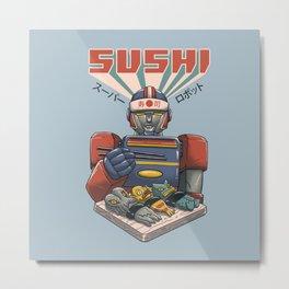 Super Sushi Robot Metal Print