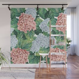 Red & Blue Hydrangea Wall Mural