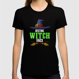 Resting Witch Face Broomstick Hat Spooky Halloween T-shirt