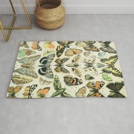 Vintage Butterfly Diagram // Papillions by Adolphe Millot XL 19th Century Science Textbook Artwork Rug