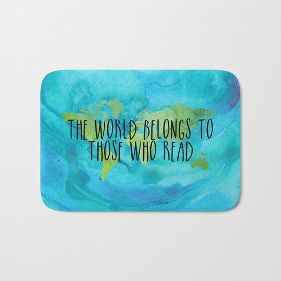 The World Belongs to Those Who Read - Watercolour Bath Mat