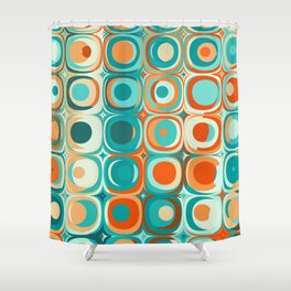 Orange and Turquoise Dots Shower Curtain