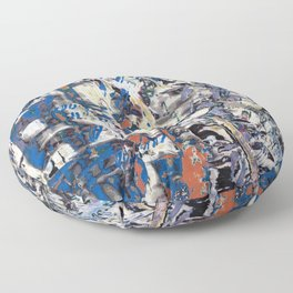 Inclement Weather (Gray and Blue Abstract Marks) Floor Pillow
