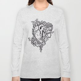 Flower Heart Illustration by Sophi Art Long Sleeve T-shirt