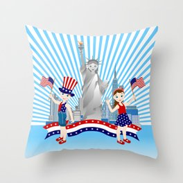 American children on Independence Day Throw Pillow