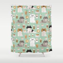 Pekingese dog breed dog pattern pet portraits coffee food dog breeds pet friendly Shower Curtain