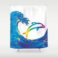 hokusai Shower Curtains featuring Hokusai Rainbow & dolphin_C by FACTORIE