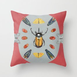 Beetle and Butterfly Symmetry Throw Pillow
