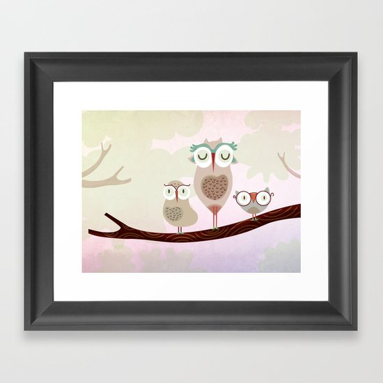 Mother owl and children Framed Art Print