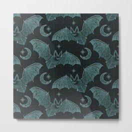 Bat Stitch Crazy - Blue ©studioxtine Metal Print