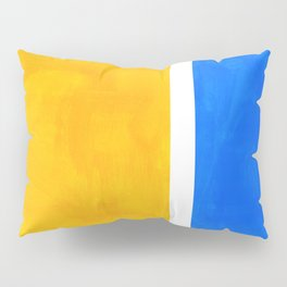 Primary Yellow Cerulean Blue Mid Century Modern Abstract Minimalist Rothko Color Field Squares Pillow Sham