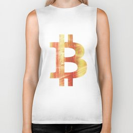 Bitcoin Red Yellow colorful watercolor texture Biker Tank