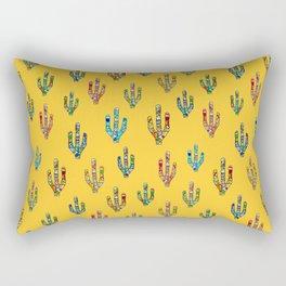 Mosaic Cacti on Yellow Rectangular Pillow