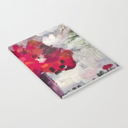 Red, Red Abstract Flowers Contemporary Notebook