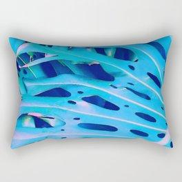 Monstera Blue Rectangular Pillow