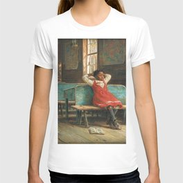African American Masterpiece Portrait 'Kept In' by Edward Lamson Henry T-shirt