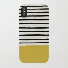 Mustard Yellow & Stripes iPhone Case