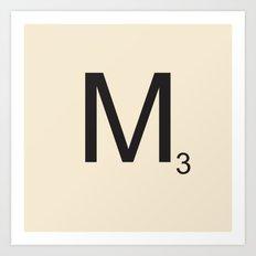Scrabble M Art Print