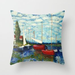 """Artistic Impression of Claude Monet's """"Red Boats at Argenteuil"""" Throw Pillow"""
