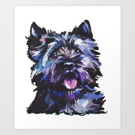 Fun Black Cairn Terrier bright colorful Pop Art Dog Portrait by LEA Art Print