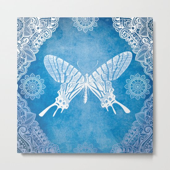 Bohemian Ornamental Butterfly Deep Blue Ombre Metal Print
