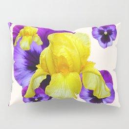 WHITE PANSY & IRIS  GARDEN ART DESIGN Pillow Sham