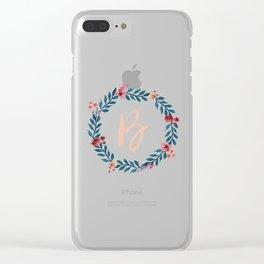 Watercolor Monogram Wreath Letter B Clear iPhone Case