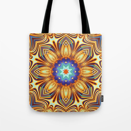 Kaleidoscope abstract with a flower shape and tribal patterns Tote Bag