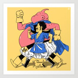 Buu, Mr. Satan, & Bee Art Print