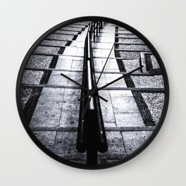 lines and stairs in black and white Wall Clock