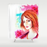 celtic Shower Curtains featuring Celtic girl by isabelsalvadorvisualarts