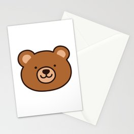Brown Happy Bear Front Face Stationery Cards