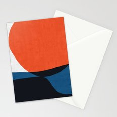 Blue and red modern art V Stationery Cards