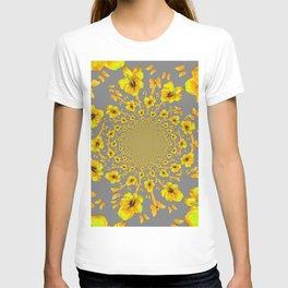 CHARCOAL GREY YELLOW AMARYLLIS BUTTERFLY ART T-shirt