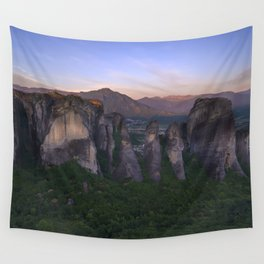 Meteora at sunrise Wall Tapestry