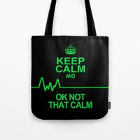 keep calm Tote Bags featuring Keep Calm by Alice Gosling