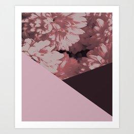 Pink mums geometrical collage Art Print
