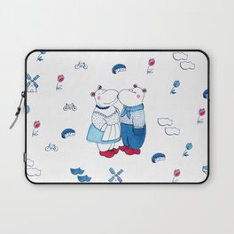 Adorable Dutch hippos in Delft blue style Laptop Sleeve