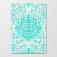 Happy Place Doodle in Mint Green & Aqua Canvas Print