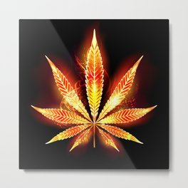 Cannabis Fire Leaf Metal Print